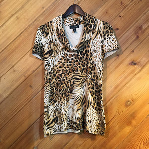 Cable & Gauge short sleeve animal print sweater S